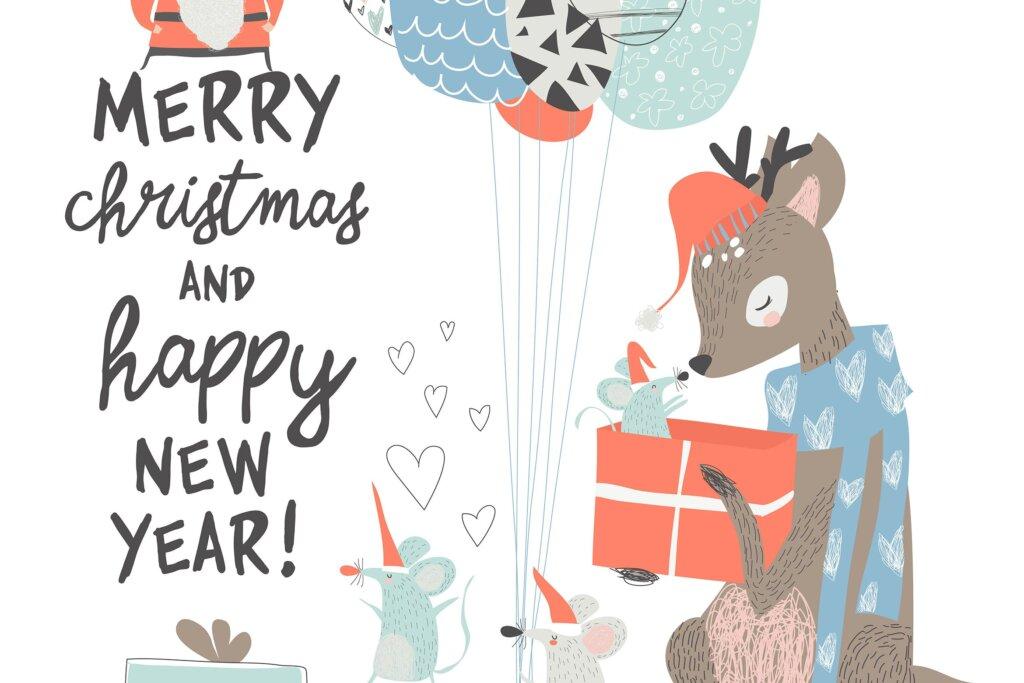 圣诞贺卡与可爱的鹿和鼠手绘插画素材Vector Greeting Christmas card with cute deer and插图