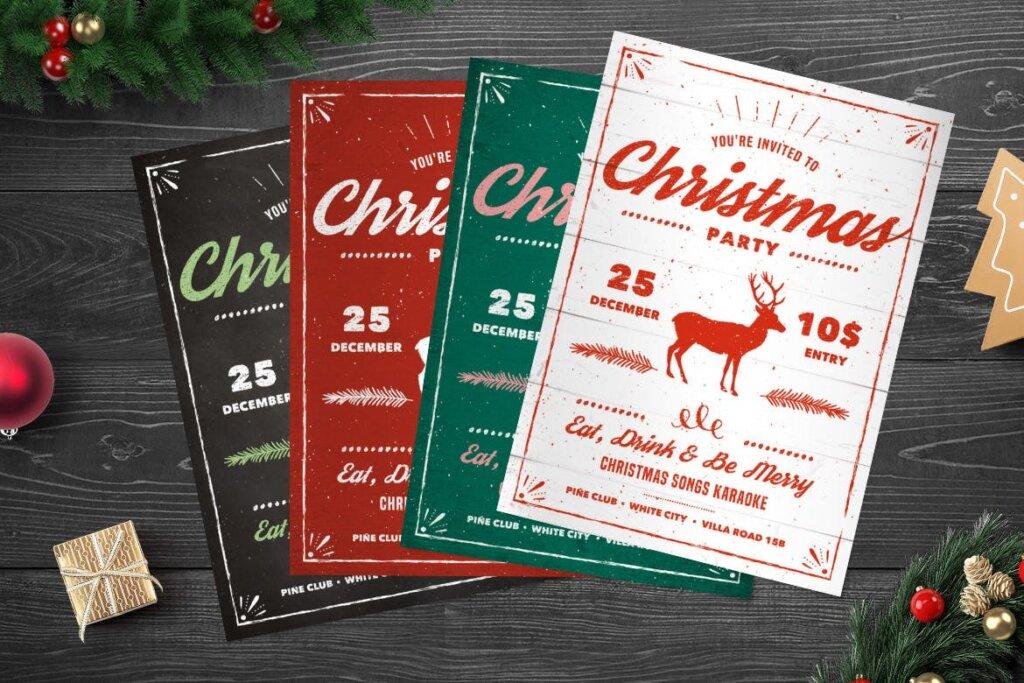 乡村传单/海报圣诞晚会活动传单模版素材Vintage Christmas Party Flyer插图