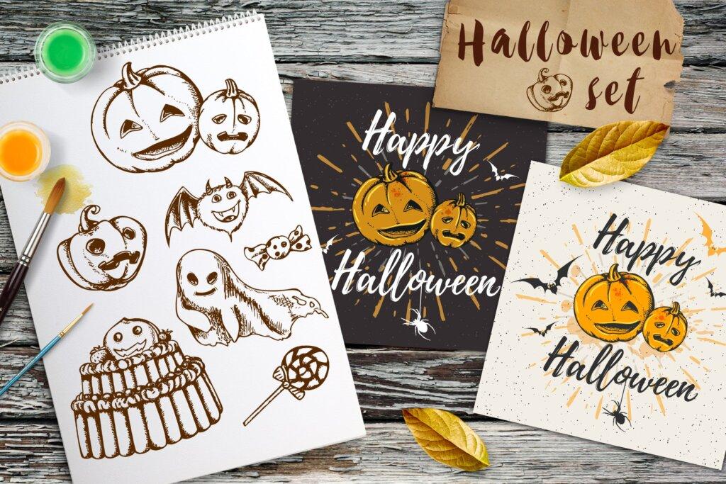 复古手绘万圣节设计元素装饰图案纹理素材下载Vintage Halloween Kit  4AEVAF插图