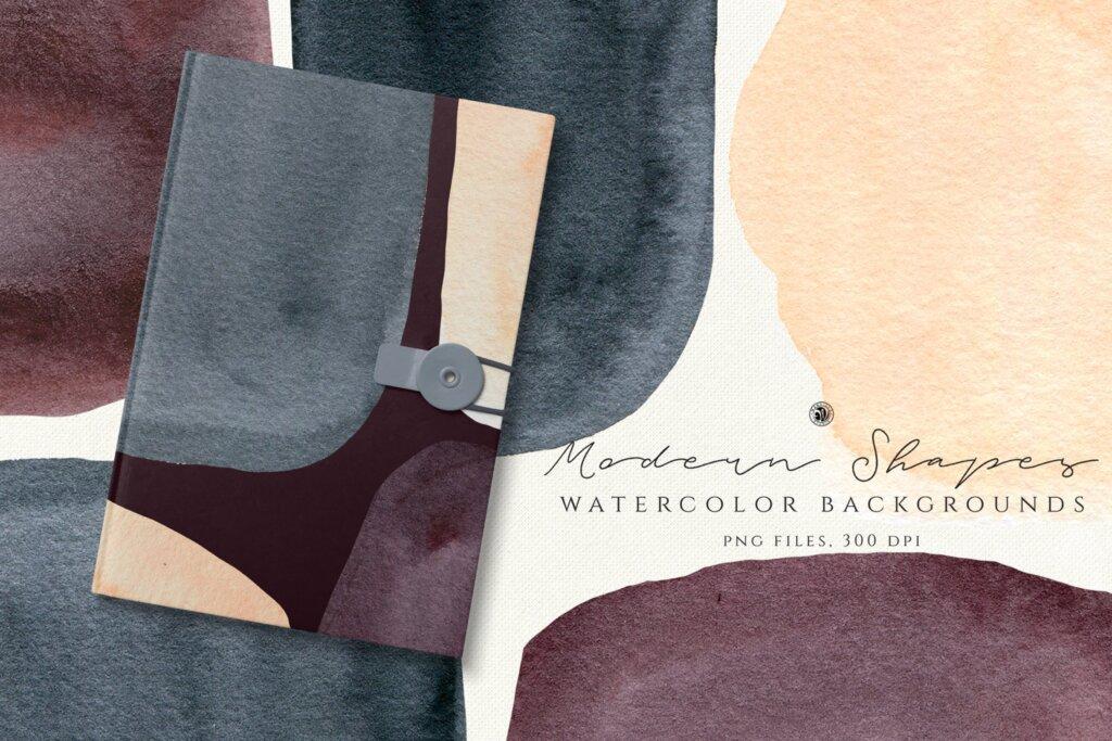 手绘水彩形状剪辑艺术图案纹理素材Watercolor Backgrounds Modern Shapes插图