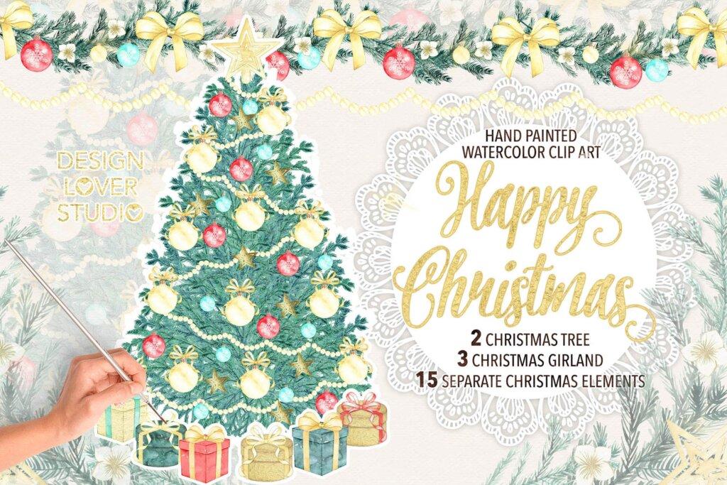 圣诞节元素装饰图案纹理素材下载Watercolor Christmas tree design插图