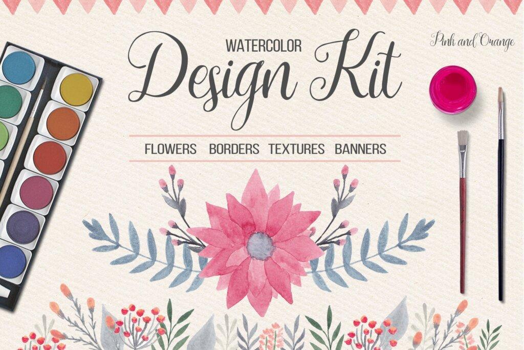 水彩花卉枝干装饰图案/婚礼邀请函装饰图案素材Watercolor Floral Design Kit插图