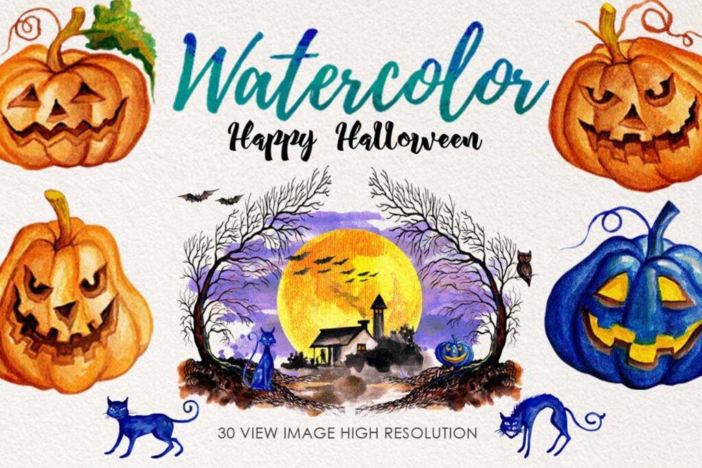 手绘水彩万圣节快乐图案纹理素材下载Watercolor Happy Halloween插图