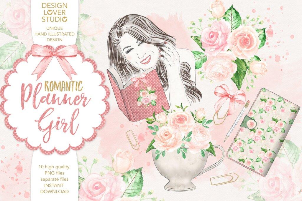 浪漫温馨女孩礼品装饰图案纹理素材Watercolor Planner Girl design插图