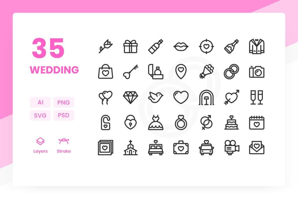 35个婚礼创意线性图标下载Wedding Icons Pack插图