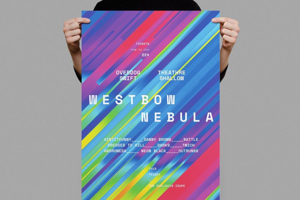 时光渐变背景纹理海报传单模板素材Westbow Nebula Poster Flyer插图
