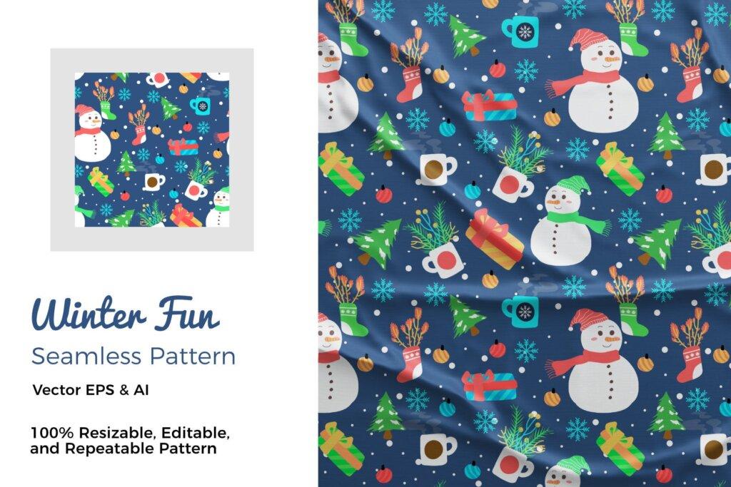 圣诞节装饰矢量元素素材模版下载Winter Fun Pattern XGS23W7插图