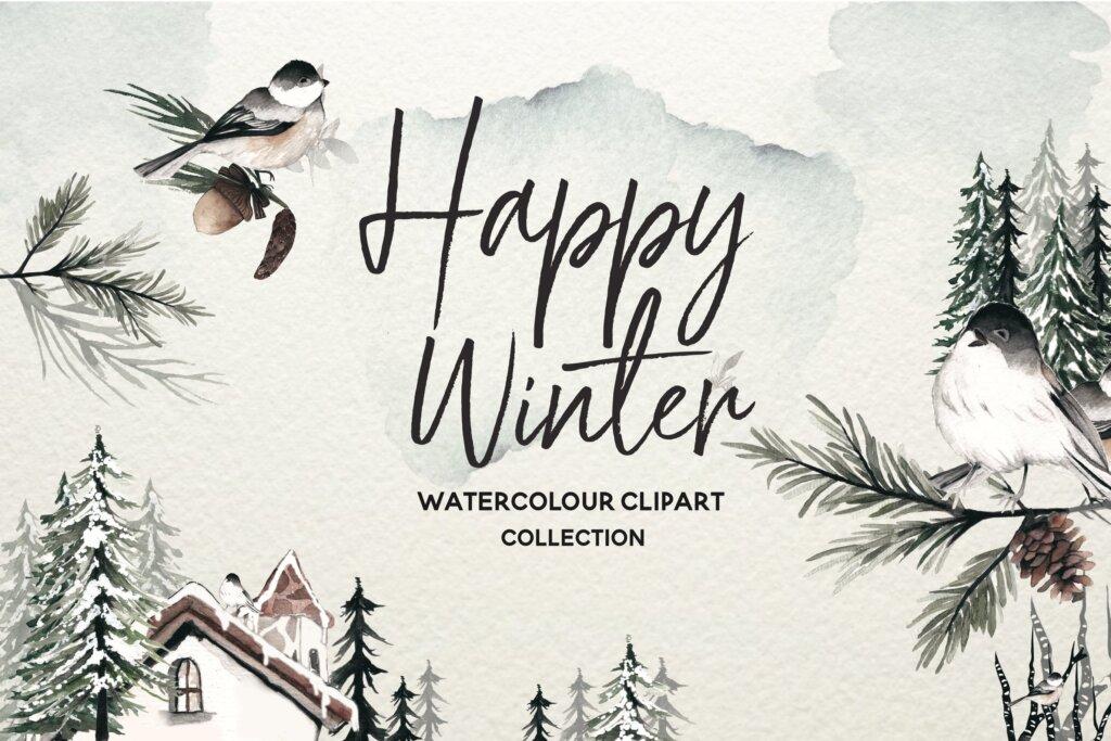 冬天水彩水墨中国风品牌装饰图案素材下载Winter Watercolor Collection插图