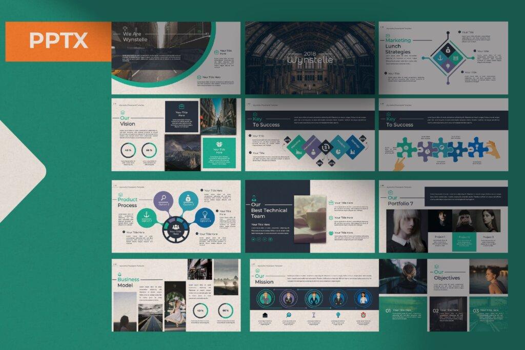 绿色环保主题概念设计稿幻灯片模板素材Wynstelle Powerpoint Template插图