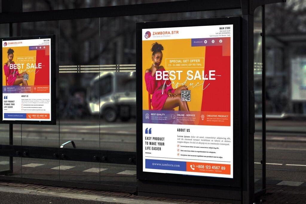 创意简约产品促销海报传单化外广告模板素材Zambora Product Promotion Sale and Poster HR插图