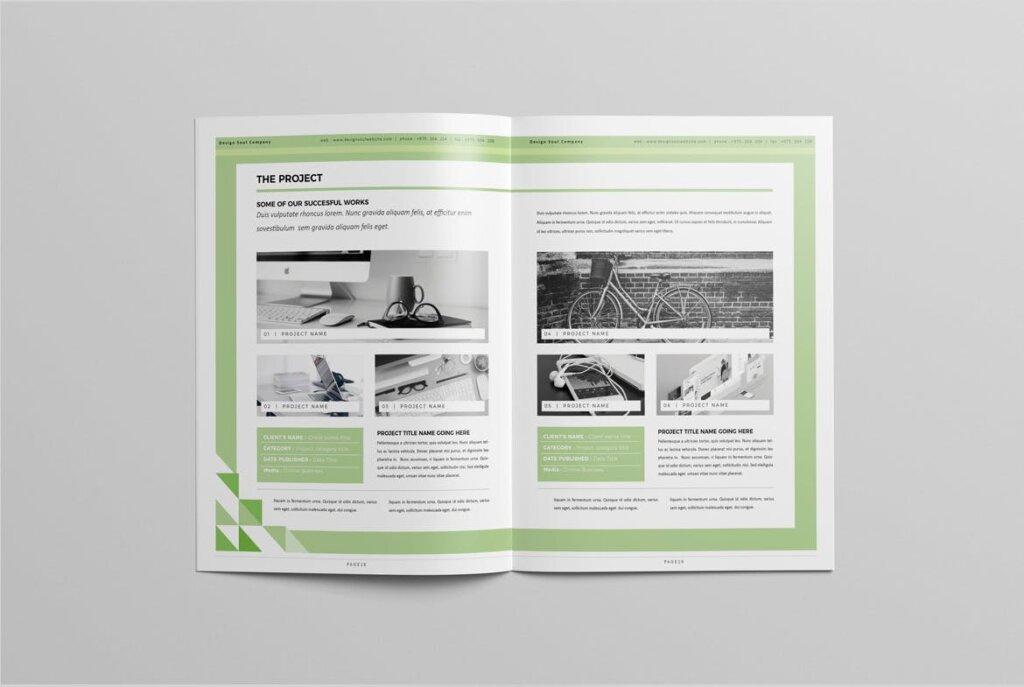 绿色环保简约杂志手册模板素材下载UXZT87插图(8)