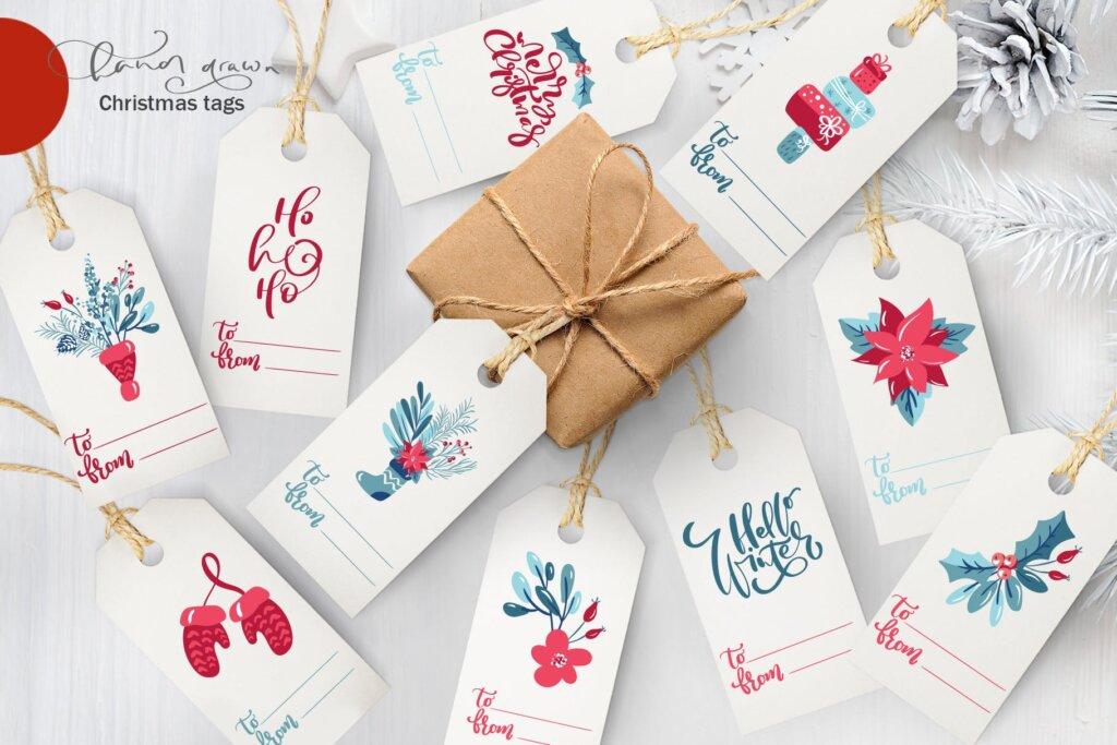圣诞节花环装饰元素纹理素材/品牌装饰图案素材纹理Christmas floral holiday elements插图(8)