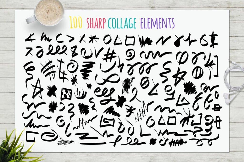 马卡龙剪贴画/渐变图案纹理素材下载Funny Collage Kit插图(9)