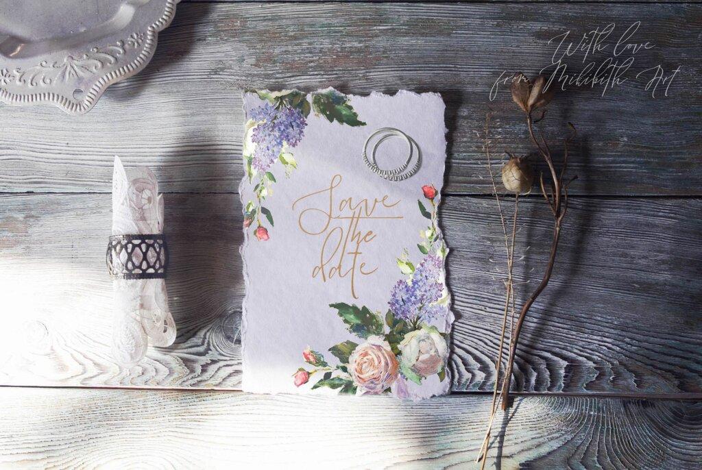 油画装饰图案婚礼邀请函装饰图案下载Oil painted Fine Art roses collection插图(8)