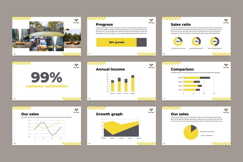 出租车行业数据大调查数据汇报幻灯片PPT模版Taxi Services PowerPoint Presentation Template插图(9)