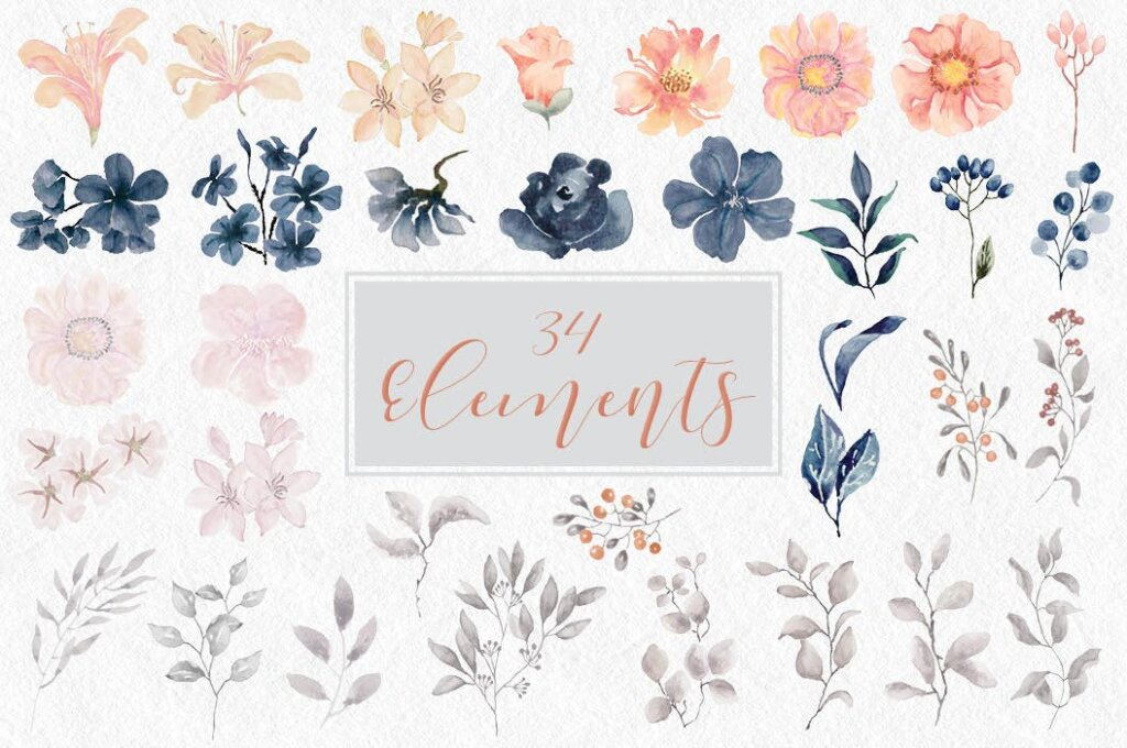 婚礼装饰图案花纹背景图案下载Coral Garden Watercolor Clip Art Collection插图(10)