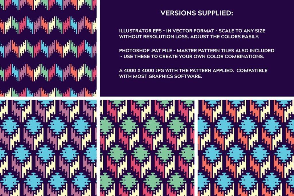 精致几何图案品牌装饰图案纹理Liquid Repeat Patterns插图(9)