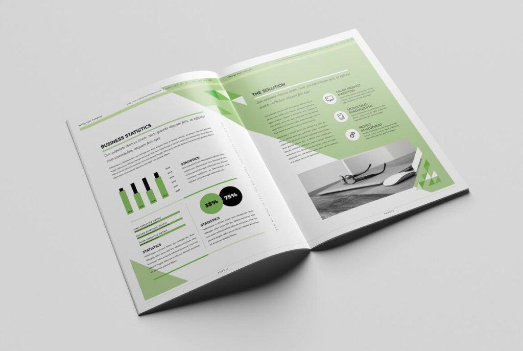 绿色环保简约杂志手册模板素材下载UXZT87插图(10)