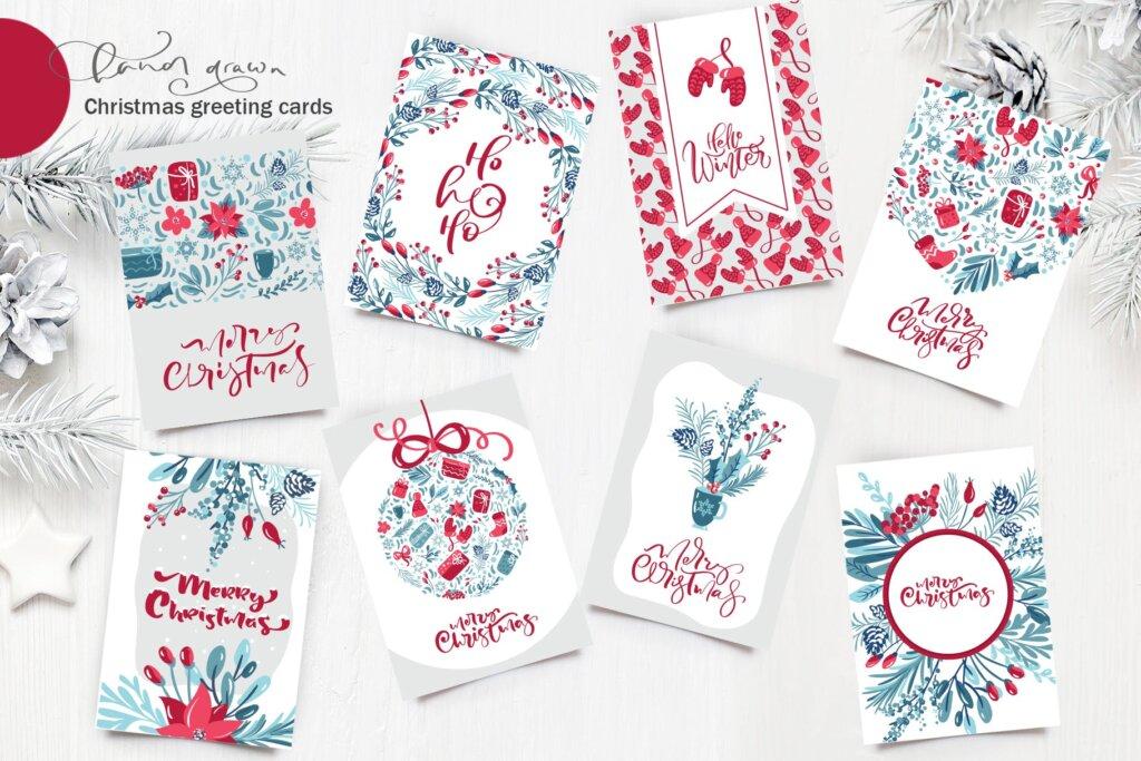 圣诞节花环装饰元素纹理素材/品牌装饰图案素材纹理Christmas floral holiday elements插图(10)