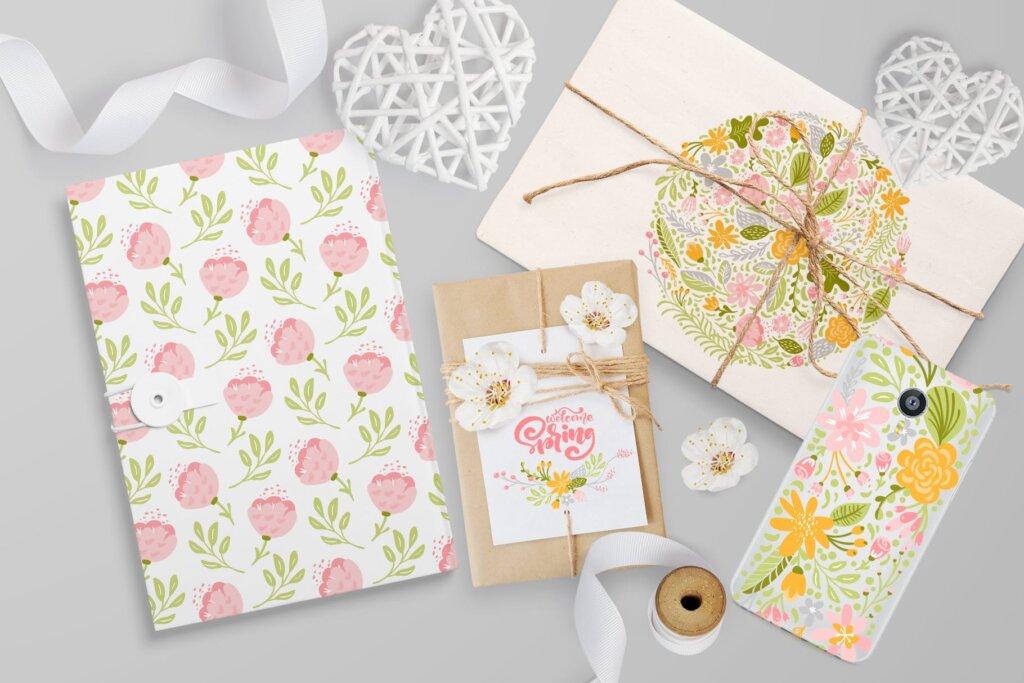 品牌标志图案纹理/品牌包装装饰图案纹理素材Fresh Feeling Spring Vector Kit SVG插图(10)