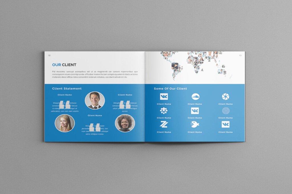 公司简介品牌宣传小册子模板素材Mavka Square Company Profile Brochure Template插图(8)