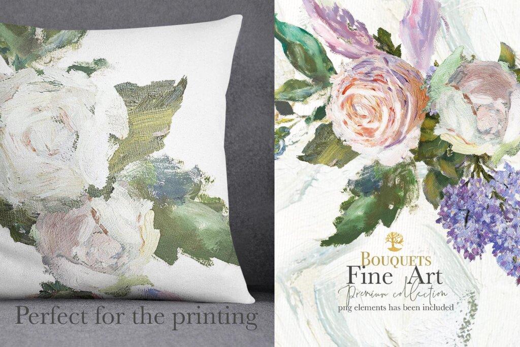 油画装饰图案婚礼邀请函装饰图案下载Oil painted Fine Art roses collection插图(10)