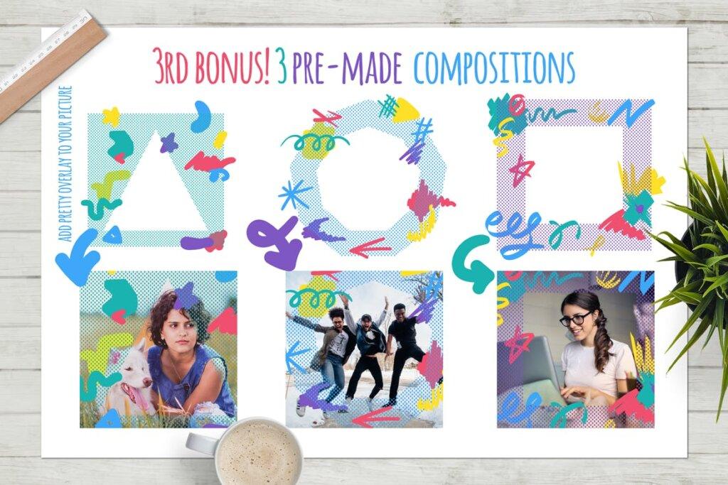 马卡龙剪贴画/渐变图案纹理素材下载Funny Collage Kit插图(12)