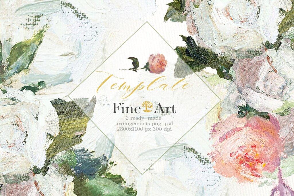 油画装饰图案婚礼邀请函装饰图案下载Oil painted Fine Art roses collection插图(11)