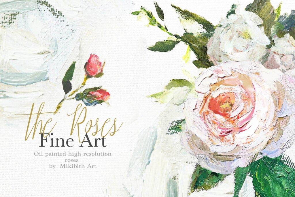 油画装饰图案婚礼邀请函装饰图案下载Oil painted Fine Art roses collection插图(12)