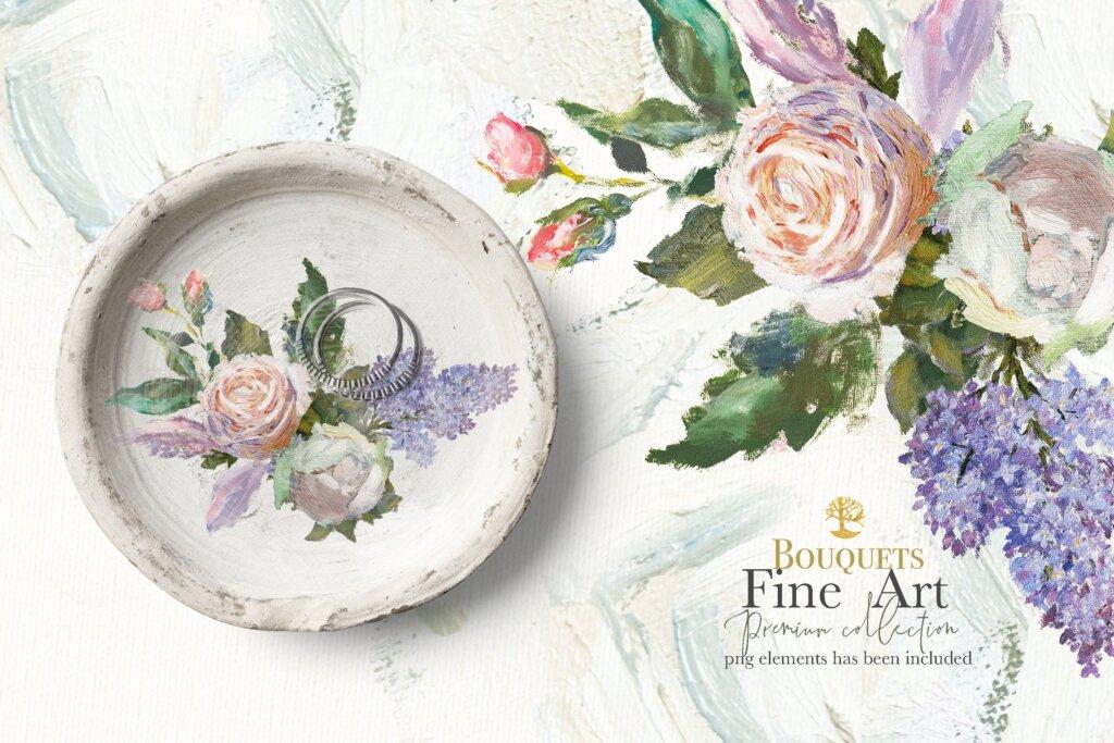 油画装饰图案婚礼邀请函装饰图案下载Oil painted Fine Art roses collection插图(13)