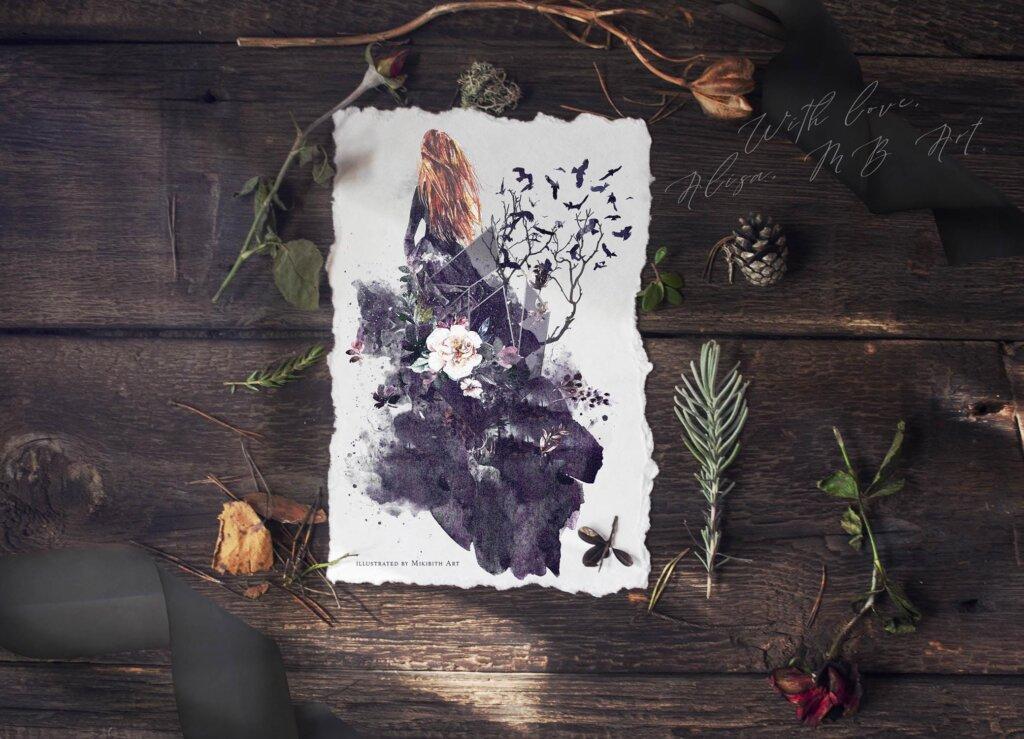 "花环和框架林地和森林装饰图案素材模版下载Fantasy illustrations ""Once in the dream""插图(12)"