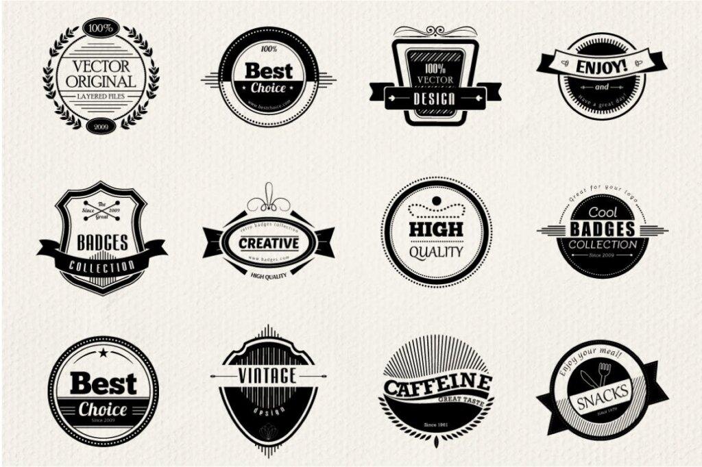 12个精致徽章装饰图案纹理素材下载12 Retro and Vintage Badges插图(1)