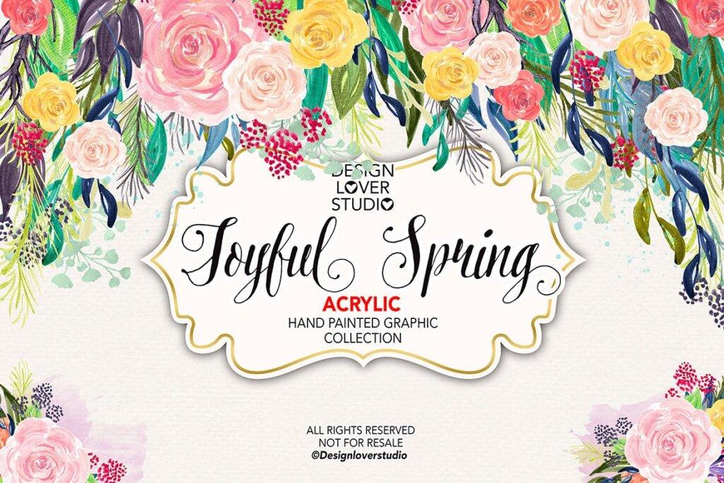 精致手绘水彩装饰图案纹理素材Acrylic JOYFUL SPRING design 2插图(1)