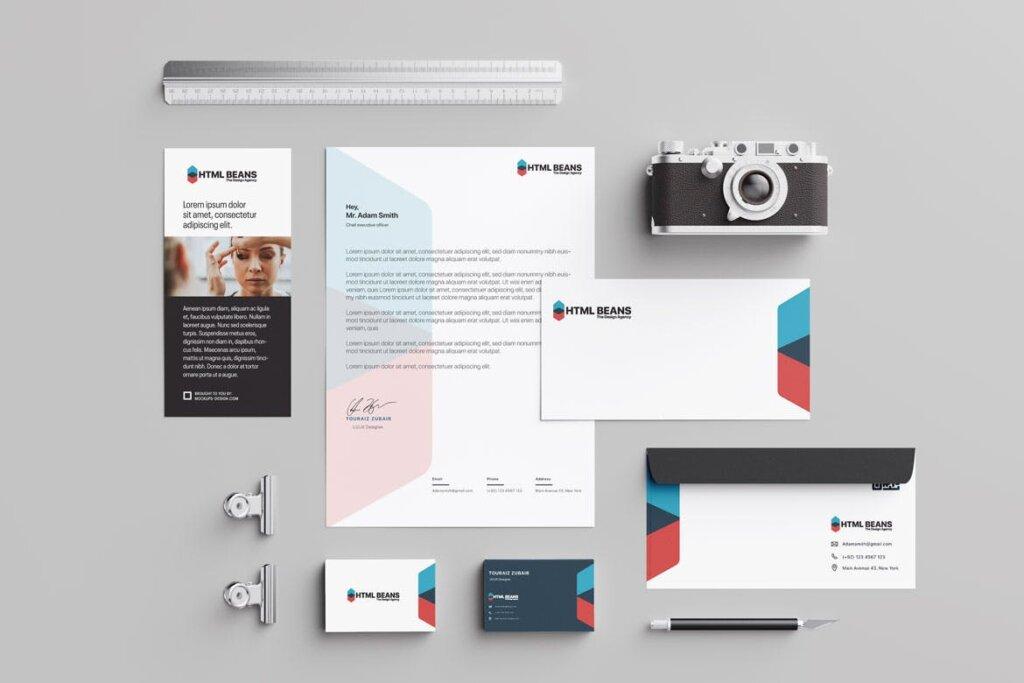简约文艺现代摄影类品牌宣传模板素材下载Agency Brand Stationary插图(1)