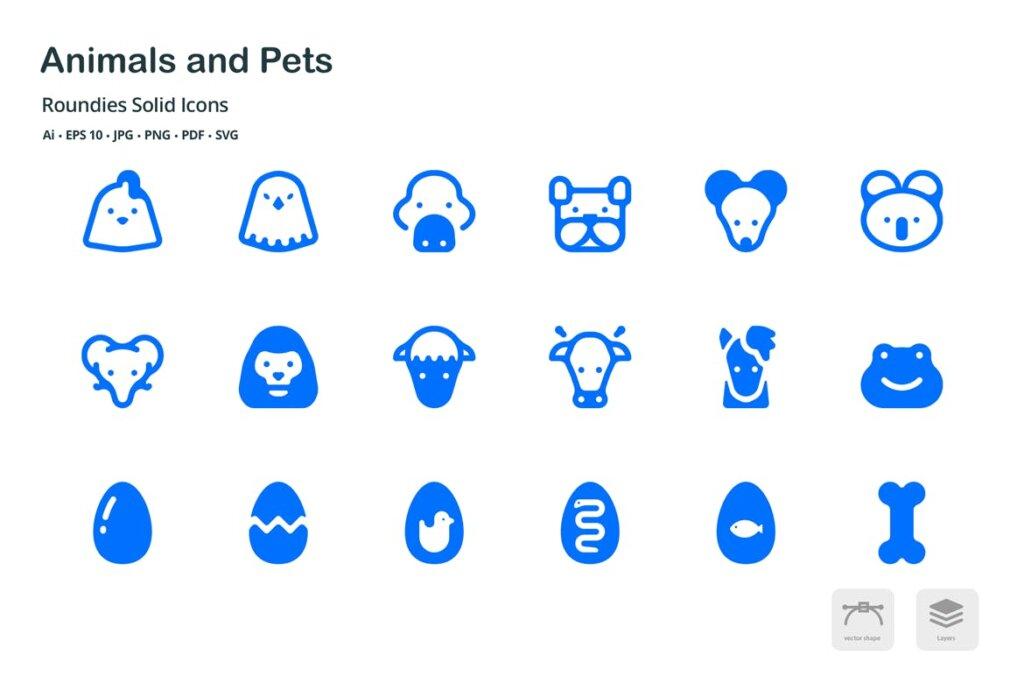 动物和宠物圆形图标矢量文件下载 and Pets Roundies Solid Glyph Icons插图(1)