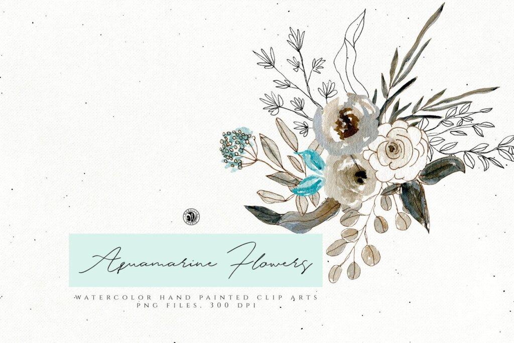 手绘海蓝宝石水彩画花卉水彩素材下载Aquamarine Watercolor Flowers插图(1)
