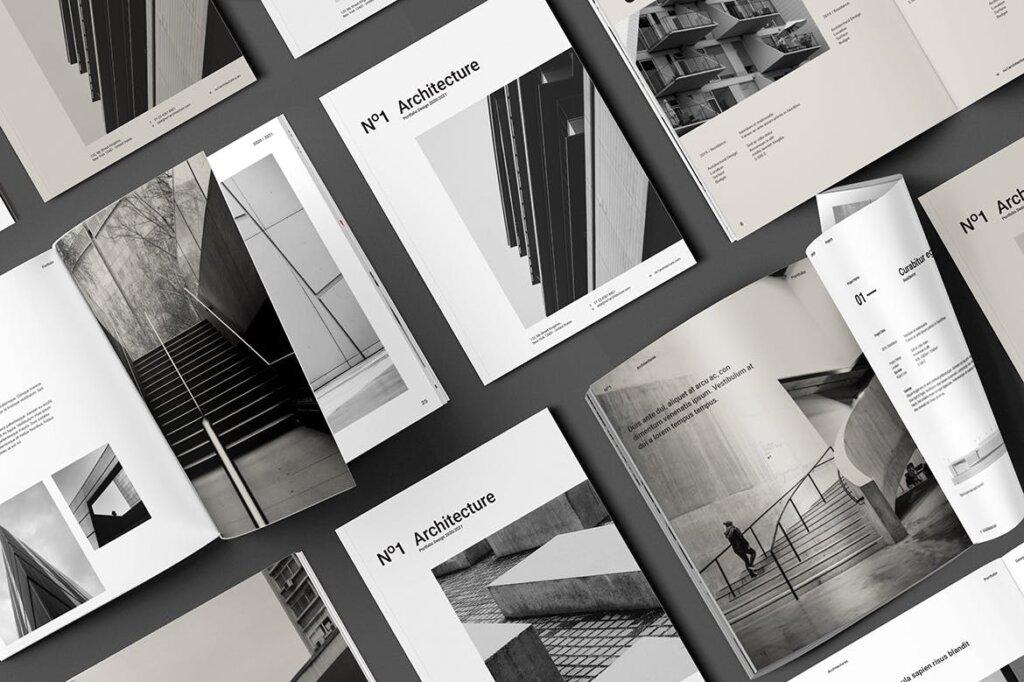 现代建筑艺术博物馆画册模板手册模板素材下载Architecture Brochure插图(1)
