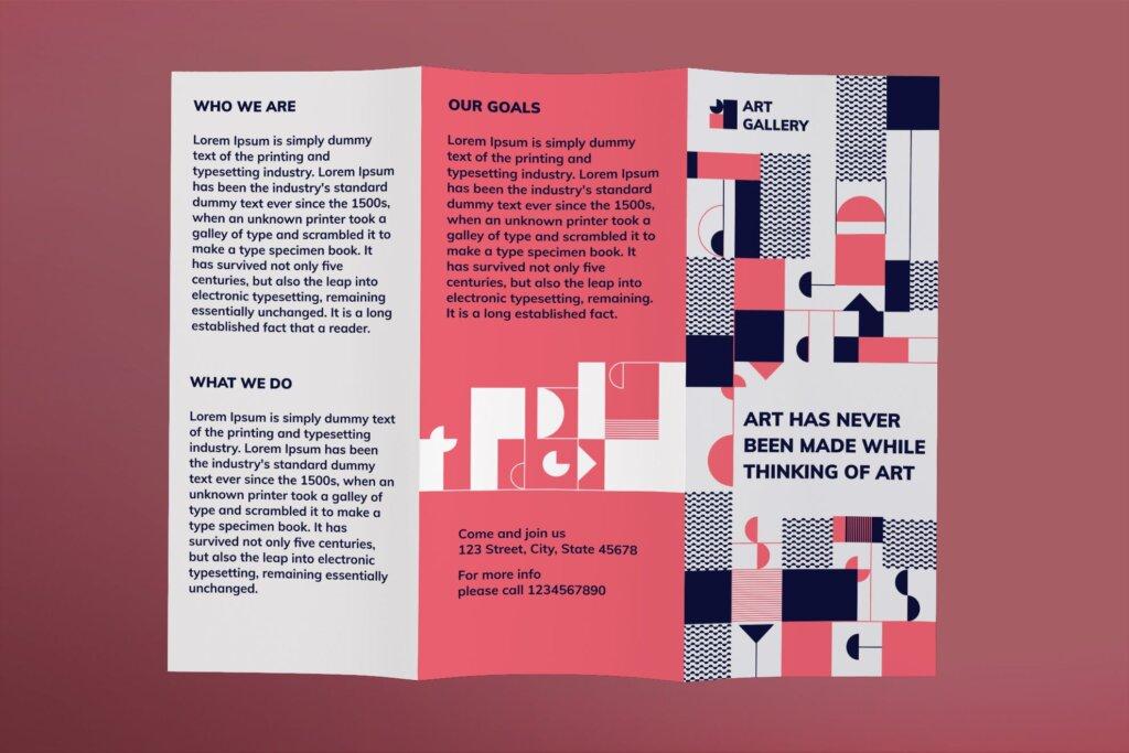 黑红折页艺术发布会传单海报模板素材下载Art Gallery Brochure Trifold插图(1)