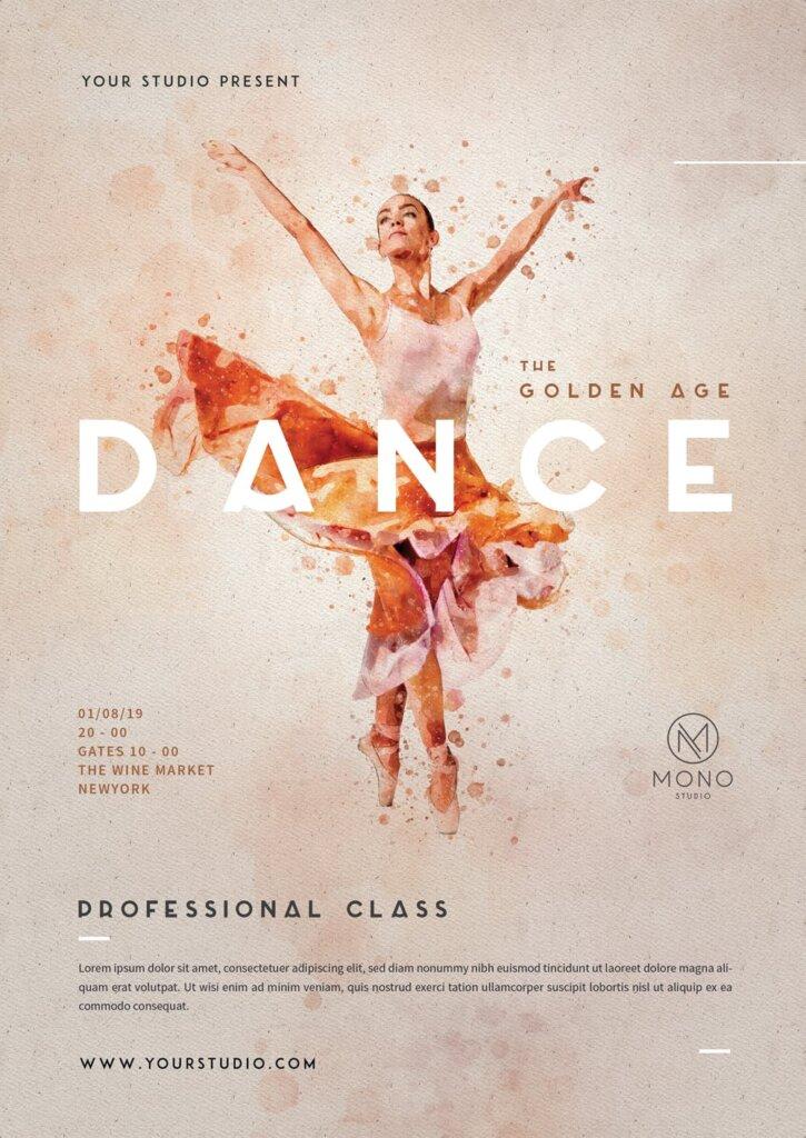 水墨风格芭蕾舞蹈传单海报传单模板素材下载Ballet Dance Flyer插图(1)