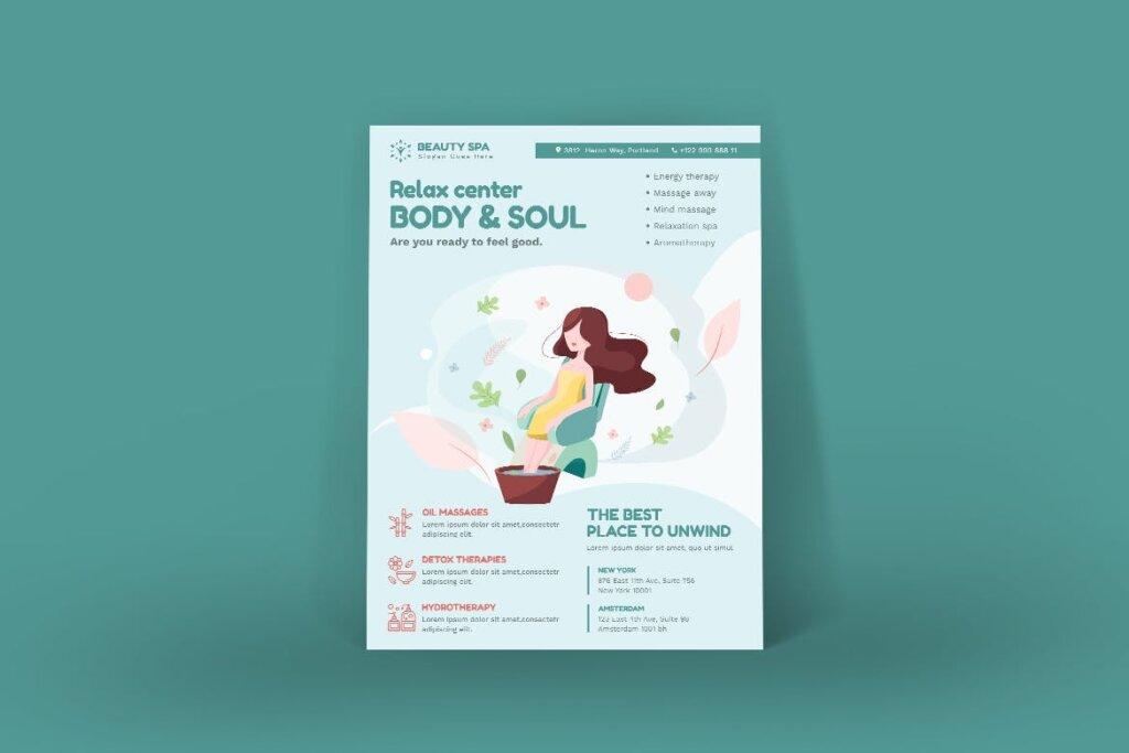 简约设计美容Spa产品介绍传单海报模板素材Beauty Spa Poster PSD Template插图(1)