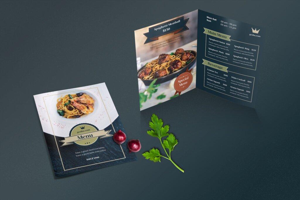 餐厅菜单酒店菜单折页模版素材下载ERV2F4M插图(1)