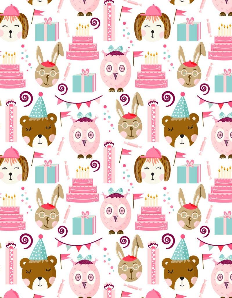 儿童生日快乐剪贴画装饰图案元素下载Birthday Pattern STHMFB插图(1)
