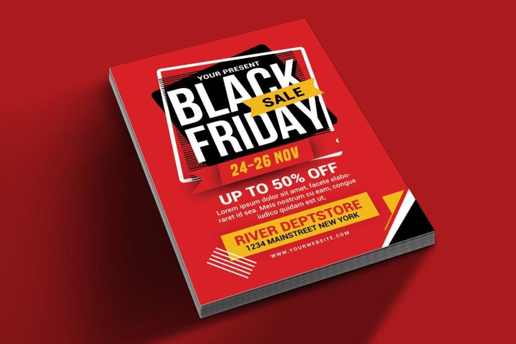 黑色星期五促销活动传单海报模版素材2M4WJM插图(1)
