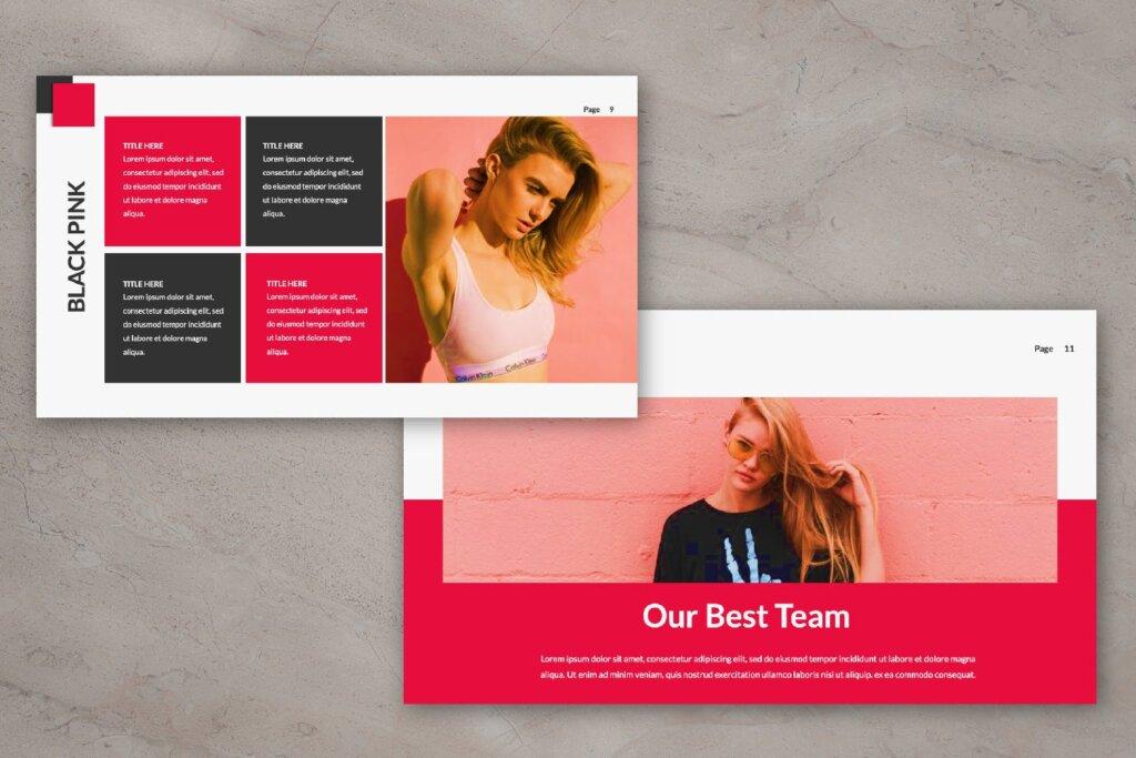时尚服装品牌企业品牌宣传幻灯片PPT模版下载Black Pink Creative Google Slide插图(1)