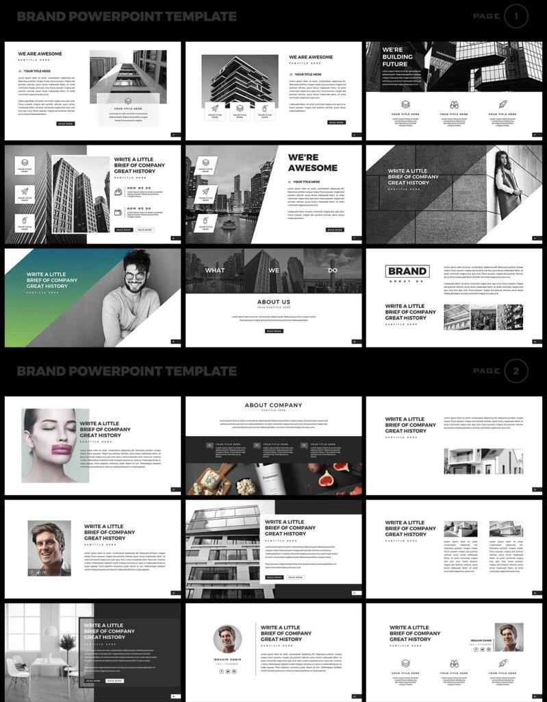 美食品牌幻灯片PPT模板素材下载Brand PowerPoint Presentation Template插图(1)