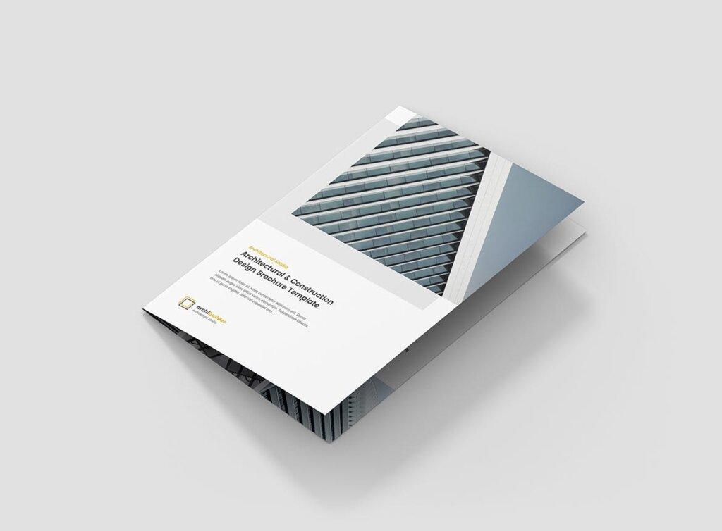 建筑工作室投资组合三折页模板素材下载Brochure Architect Bi Fold插图(1)