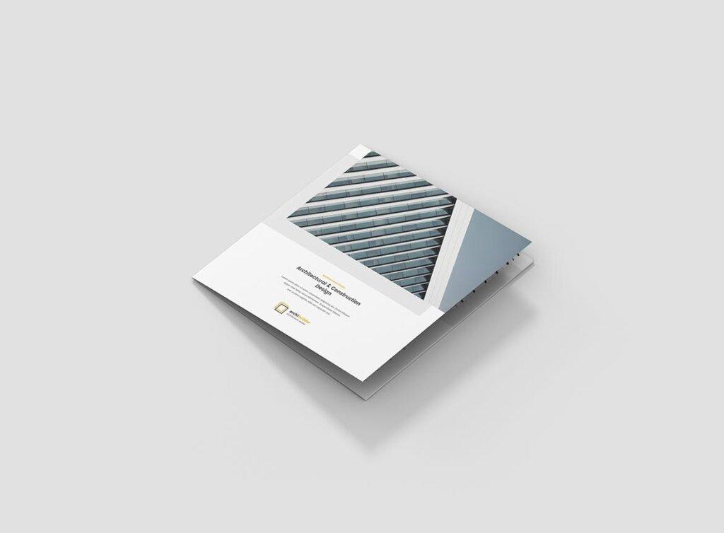 工业建筑设计工作室产品宣传折页模版素材下载Brochure Architect Tri Fold Square插图(1)