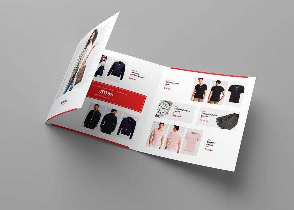 服装大促销宣传折页模版素材下载Brochure Fashion Look Book Tri Fold Square插图(1)
