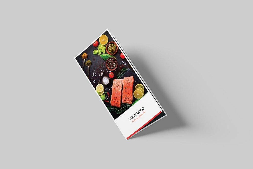 酒馆餐饮店两折页传单模版素材下载Brochure Restaurant Bi Fold DL插图(1)