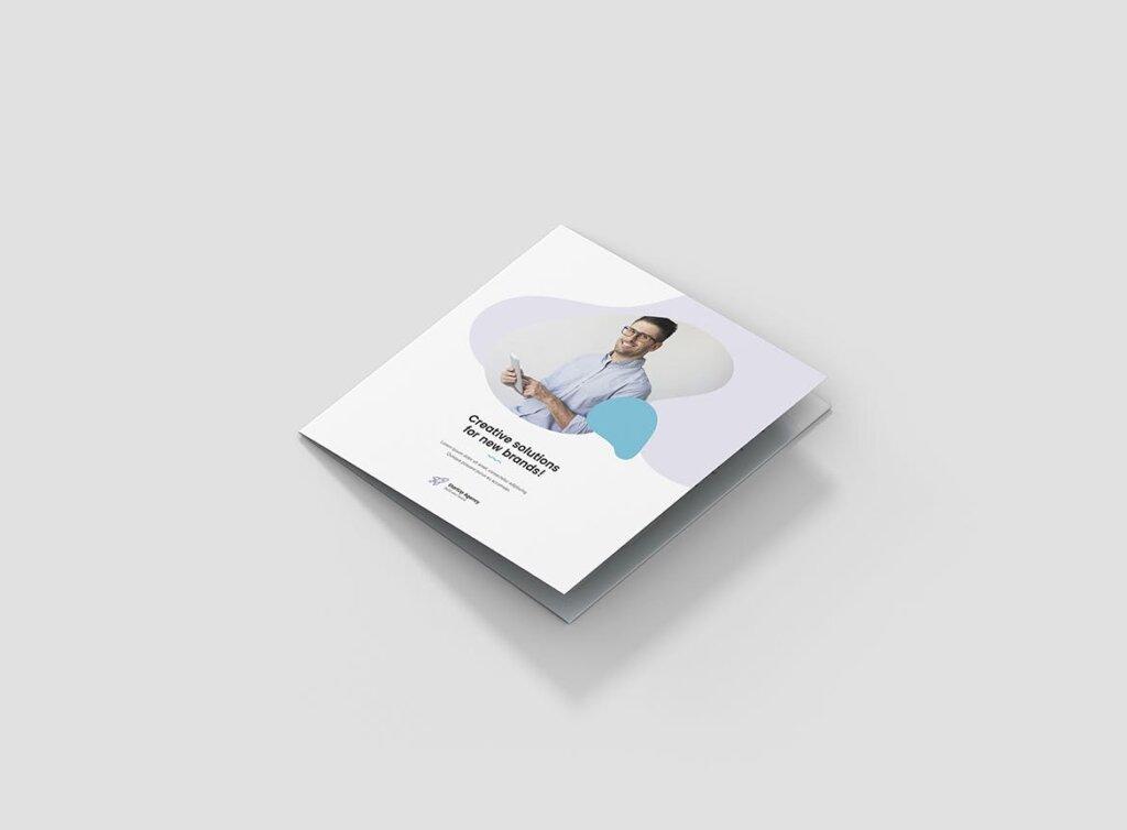 创意工作室三折页企业品牌宣传产品介绍模版素材下载Brochure StartUp Agency Tri Fold Square插图(1)